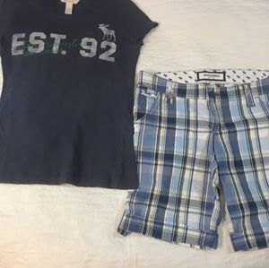 NWOT M 14 GIRLS ABERCROMBIE outfit STRETCH SHORTS